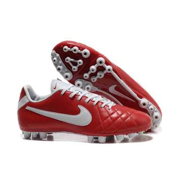 Nike Tiempo Legend IV Elite AG - Soccer Cleats - Red-White
