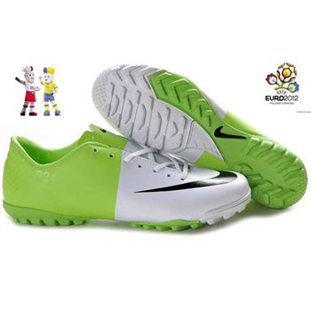 Euro 2012 Nike Mercurial Vapor VIII TF Football Boots - White Green